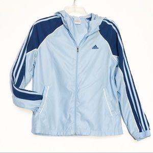 Adidas Baby Blue & Navy Blue Hooded Windbreaker